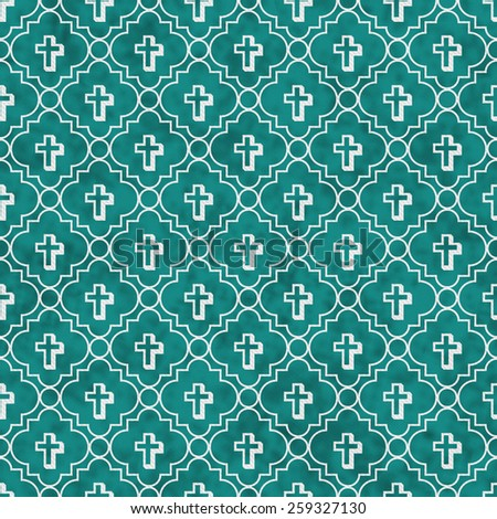 Teal and White Cross Symbol Tile Pattern Repeat Background that is seamless and repeats - stock photo