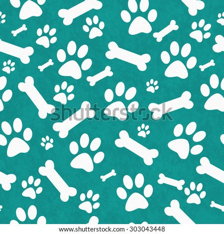 Teal and White Dog Paw Prints and Bones Tile Pattern Repeat Background that is seamless and repeats - stock photo
