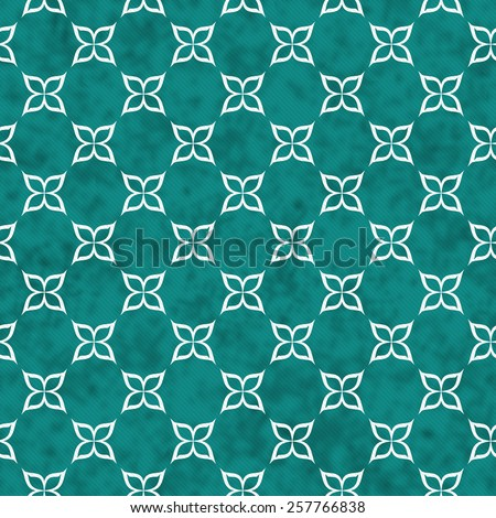 Teal and White Flower Symbol Tile Pattern Repeat Background that is seamless and repeats - stock photo