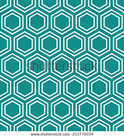 Teal and White Hexagon Tiles Pattern Repeat Background that is seamless and repeats - stock photo