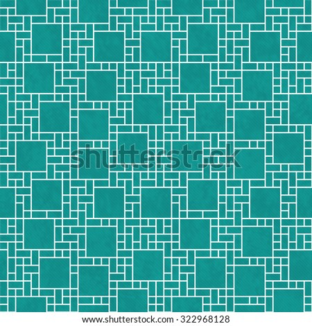 Teal and White Square Abstract Geometric Design Tile Pattern Repeat Background that is seamless and repeats - stock photo