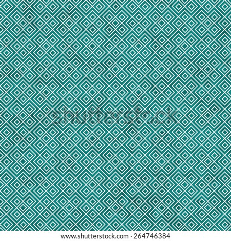 Teal and White Square Geometric Repeat Pattern Background that is seamless and repeats - stock photo