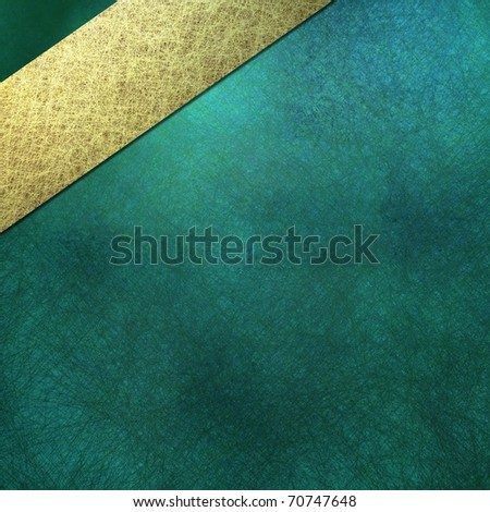 teal blue background, sign, or cover, with soft lighting, faint grunge scratch texture and shading, angled light gold stripe layout design, and copy space to add your own text, title, or image