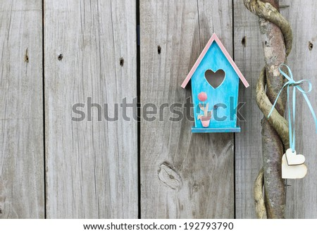 Teal blue birdhouse hanging next to honey locust tree with wooden hearts by old distressed wood fence - stock photo