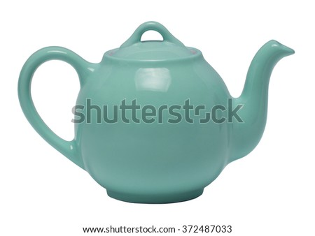 Teal teapot isolated against a white background