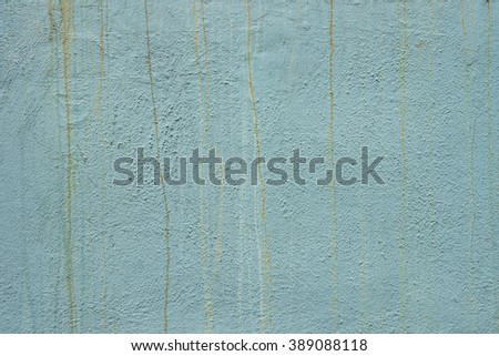 Teal turquoise blue green painted wall with rust streaks grunge horizontal - stock photo