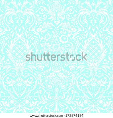 Teal Vintage Detailed Lace Damask Pattern - stock photo