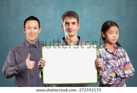 Team and male with write board in his hands isolated against different backgrounds - stock photo