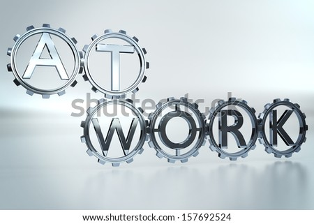 Team at work concept with cog wheels - stock photo
