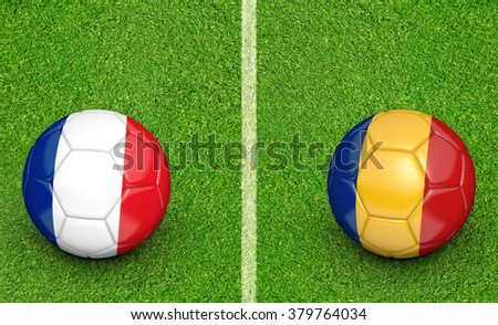 Team balls for France vs Romania 2016 football tournament match in France - stock photo