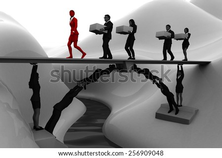 Team bridge made of people. A bridge made of people, where a leader and the rest of the team executives carry items from one side to the other.  - stock photo