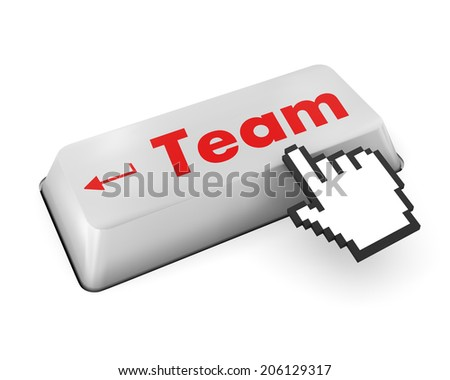 Team Building Concept. Team Button on Modern Computer Keyboard with Word Partners on It.
