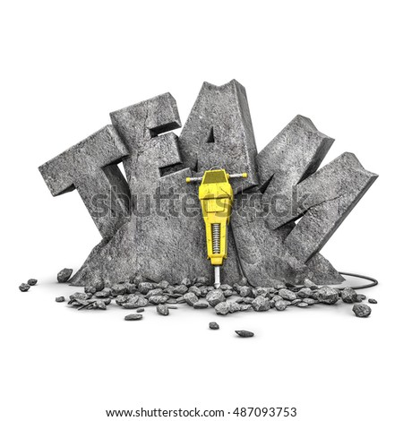 Team building exercise / 3D illustration of word team cut from stone block with jackhammer