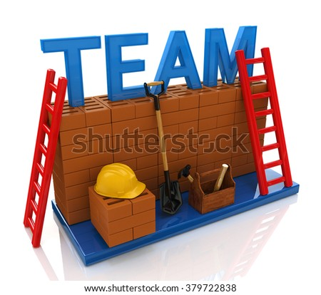 team building in the design of the information related to the creation of business teams - stock photo