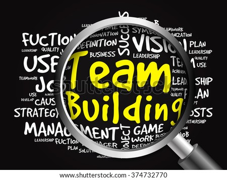 TEAM BUILDING word cloud with magnifying glass, business concept - stock photo