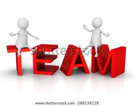 TEAM Concept Text With White 3d People. Business Teamwork 3d Render Illustration - stock photo