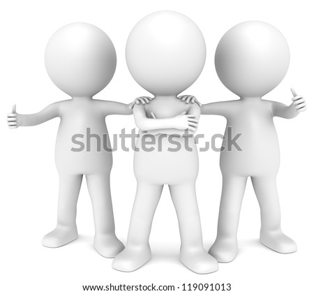 Team. 3D little human character x3 in a Confident pose. People series.