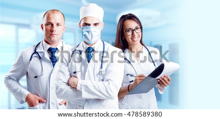 Team doctors in operating room