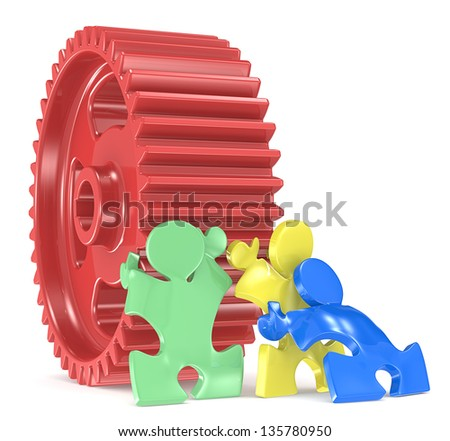 Team Effort. Puzzle People x 3 moving big Cogwheel. Red, green, yellow and blue. - stock photo