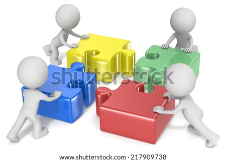 Team Effort. The dude x 4 pushing puzzle pieces in place.  - stock photo
