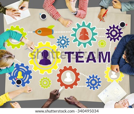 Team Functionality Teamwork Connection Technology Concept - stock photo