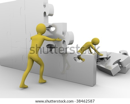 Team is building up a jigsaw wall. High resolution 3D render isolated on white