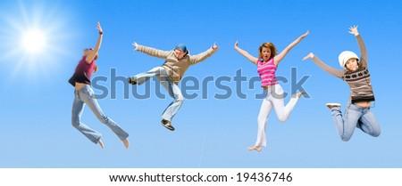 team jumping - stock photo