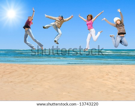 "team jumping -  of  ""On a Beach"" series in my portfolio"