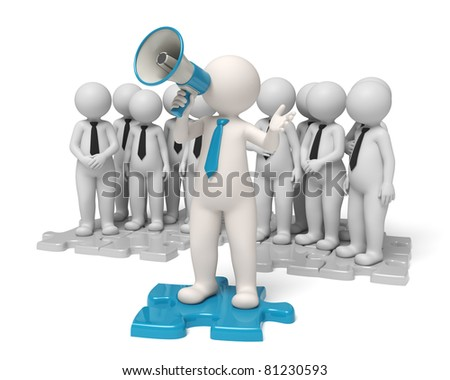 Team leader standing on a blue puzzle making an announcement through a megaphone in the name of his people - Communication concept - Isolated
