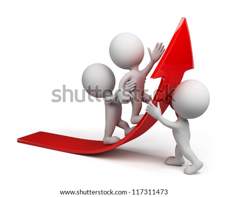 Team moves up on the red arrow.3d image. Isolated white background.
