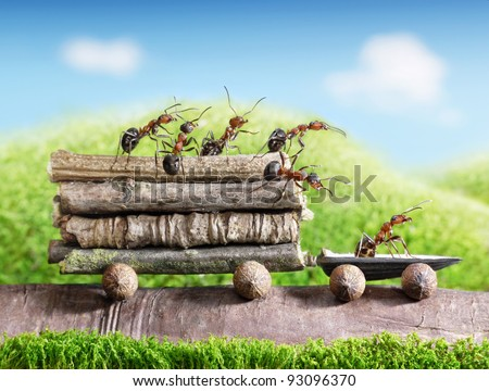 team of ants carries logs with trail car, teamwork, ecofriendly transportation - stock photo