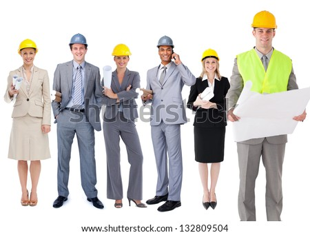 Team of architects standing in a row on white background