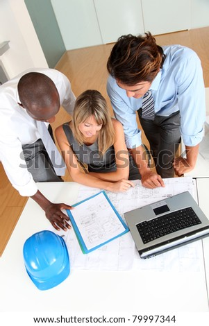 Team of architects working in the office