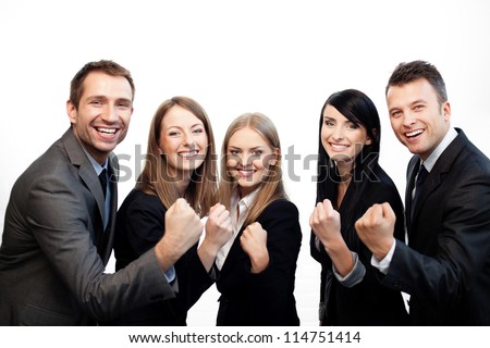 Team of business people celebrating success - stock photo