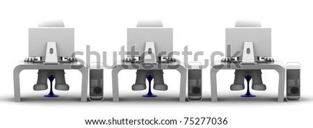Team of computer experts at workplace. On white background - stock photo
