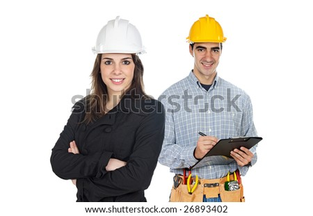 Team of construction workers isolated on white - stock photo