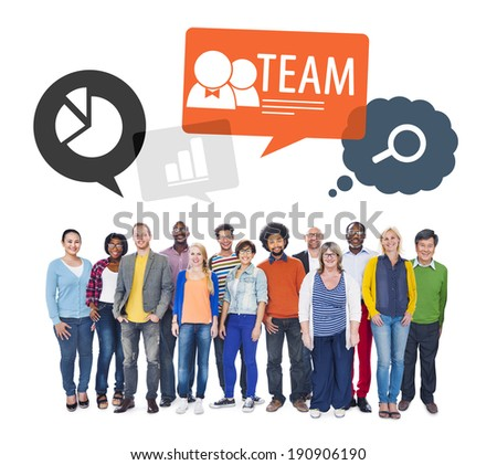 Team of Diverse Multiethnic Colorful People  - stock photo