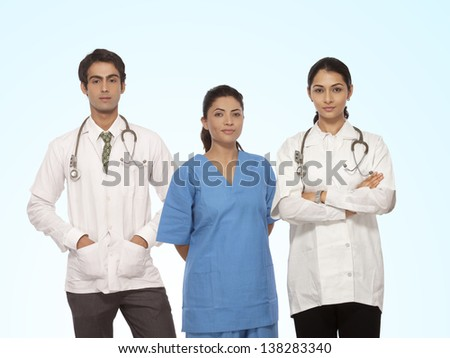 team of doctor standing with stethoscope