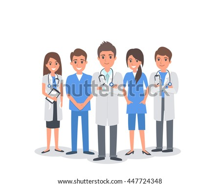 Team of doctors and other hospital workers stand together. People illustration isolated on white background. - stock photo