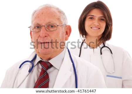 Team of doctors, with a older man and a young woman (isolated on white)