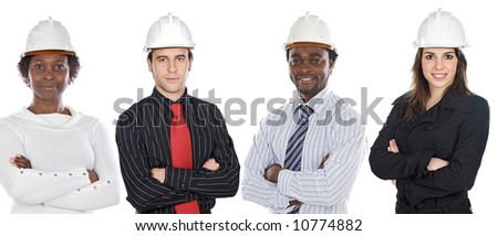 Team of engineers African-Americans and Caucasians  a over white background