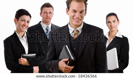 Team of happy business people smiling, isolated on white background. - stock photo