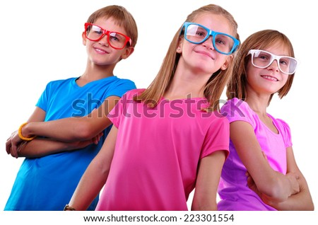 Team of happy children wearing eyeglasses isolated over white. Childhood, happiness, friendship concept - stock photo
