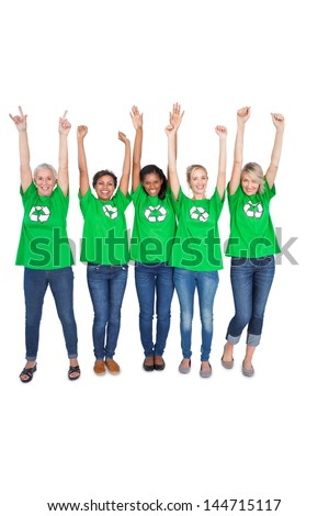 Team of happy female environmental activists cheering on white background