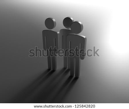 Team of Human Figures Standing Before the Big Bright Changes Ahead - stock photo