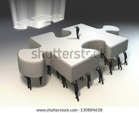 team of people with leader carrying puzzle piece in position. solution found - stock photo