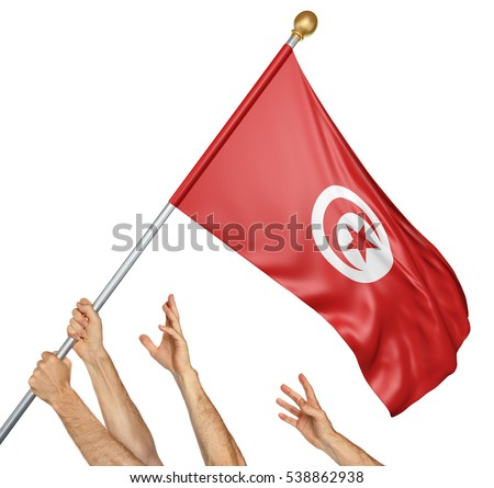 Team of peoples hands raising the Tunisia national flag, 3D rendering isolated on white background
