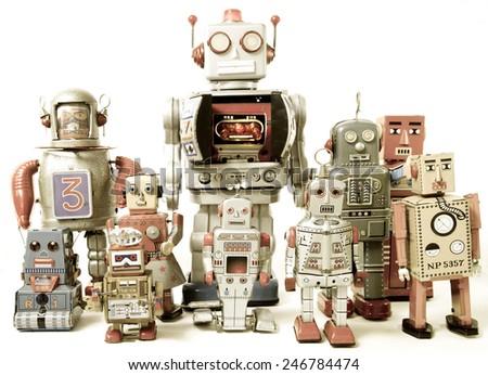 team of Robot toys - stock photo