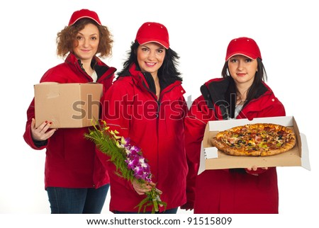 Team of three delivers women in red uniform with different things isolated on white background