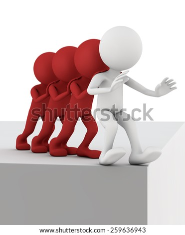 team of three people being pushed into the abyss of human
